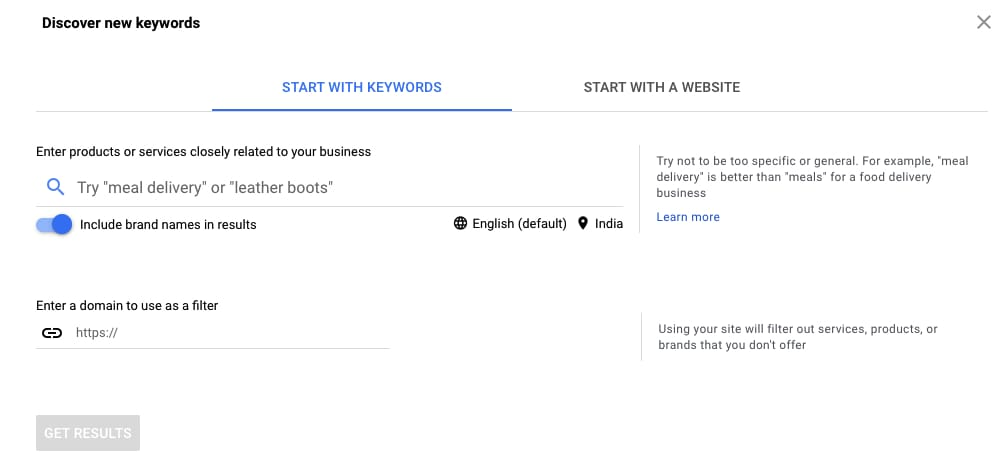 google keyword planner for sellers